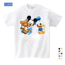 Cartoon Summer Duck Donald Mouse Children Clothes Print Tee Tops for Boy Girls T Shirt YUDIE