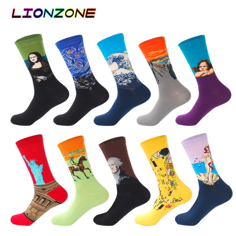 LIONZONE 10Pairs/Lot Men Cotton Socks Oil Painting Maple Leaf Celebrity Portrait Stripe Funny Happy Dress Male Socks + Gift