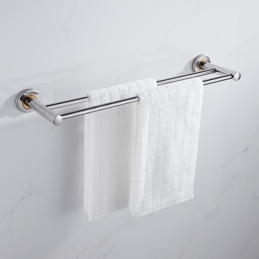 HobbyLane Wall Mounted Thick Stainless Steel Bathroom Towel Rack 1 Or 2 Rail Holder 40cm/50cm/60cm