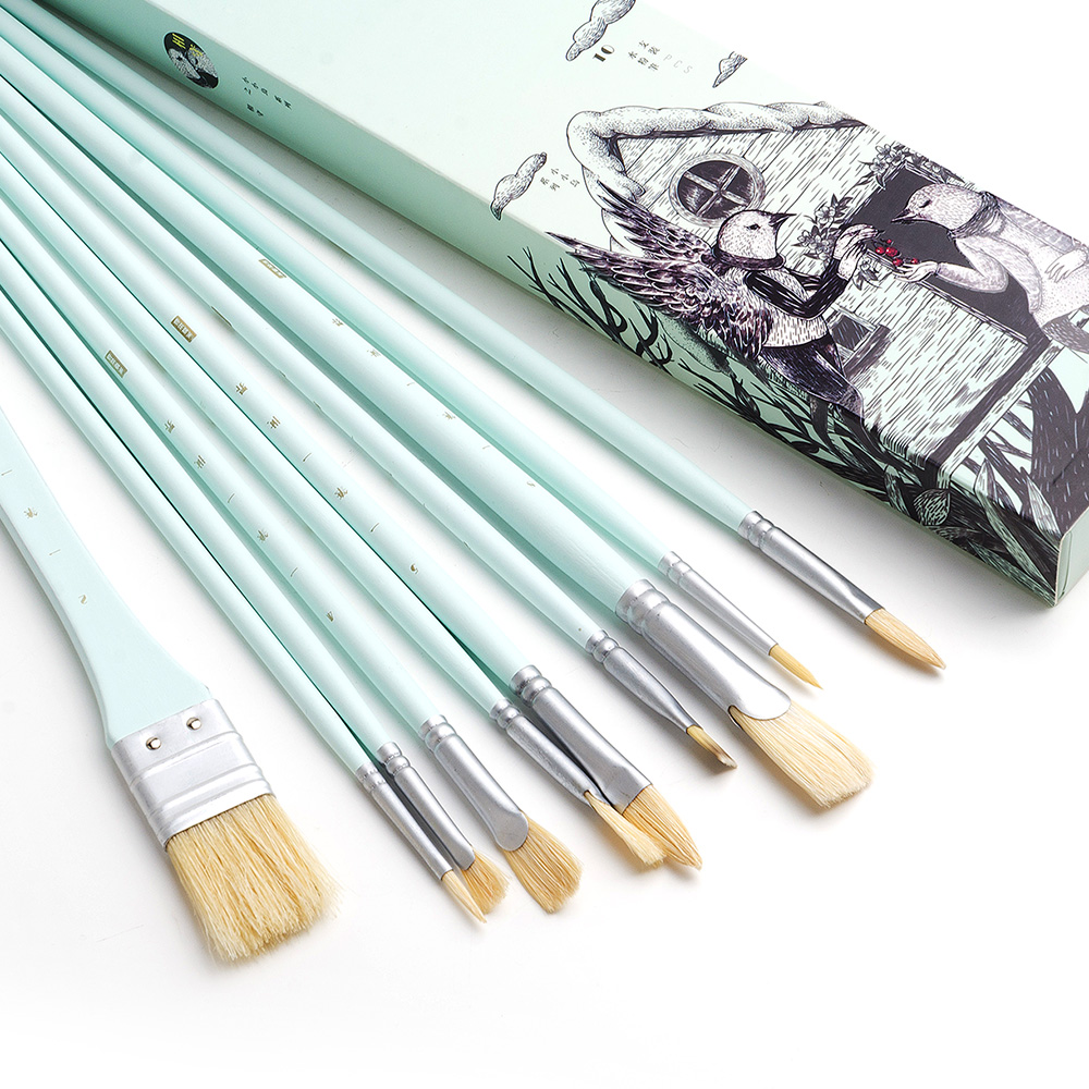 MIYA 10PCS Paint Brush Set Professional Art Paint Brushes for Watercolor Acrylic and Oil Hog Bristle Brushes for Drawing 2281 24pc set paint art brush set acrylic watercolor brushes artistic set with pencil case for acrylic and oil painting drawing