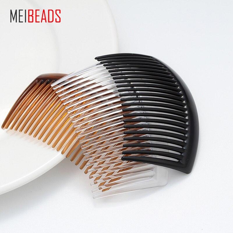 MEIBEADS 5 шт./лот прозрачный пластиковый зубной гребень вставленный гребень зажим для волос ручной работы аксессуары для волос UF7556