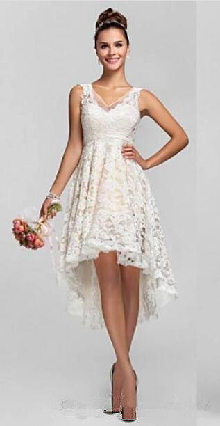 Vintage a line hi lo lace short wedding dresses 2016 new for Vintage summer wedding dresses
