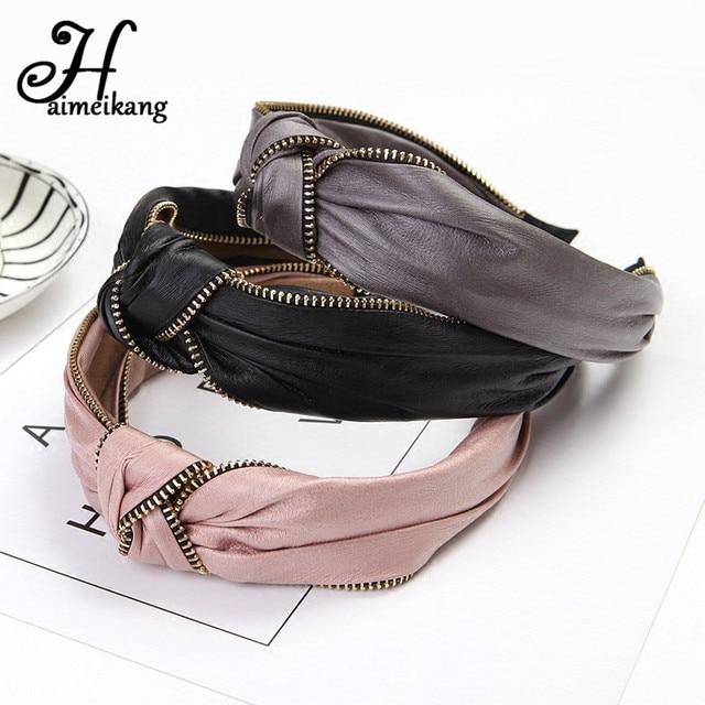 Haimeikang 2019 korea Fashion Leather Hairband Knot Headband Lady Girls Hair Hoop Bands Accessories for Women Hair Headdress