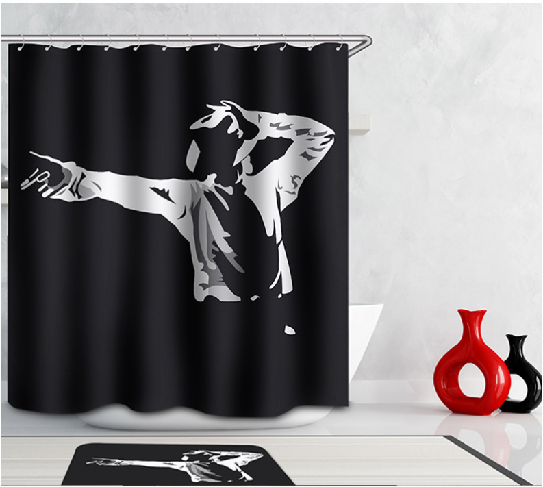 Music Superstar M J Printing 3D Shower Curtains Spun Waterproof Washable  Thickened Curtain Bathroom+12 C