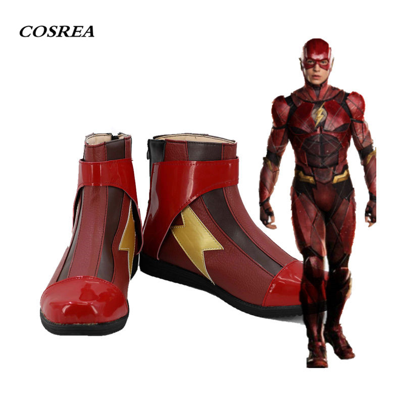 COSREA The Flash Cosplay Costume Superhero The Flash Barry Allen Red High Quality Shoes Halloween Party For Adult Man