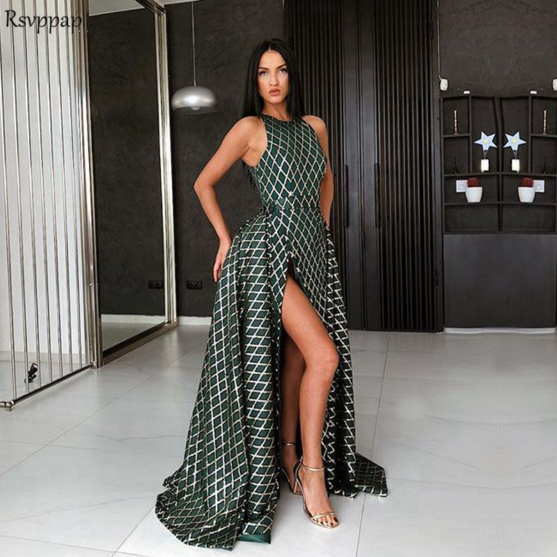 Long Evening Dress 2018 Sexy Saudi Arabia High Slit Train