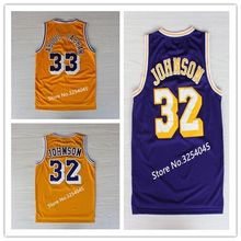 b176a4c2c VINTAGE  32 Magic Johnson  33 Kareem Abdul Jabbar Throwback Basketball  Jersey Embroidery Stitched US Size S-XXL