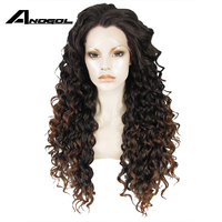 Anogol Heat Resistant Lace Front Wig Brown Ombre Dark Roots Glueless Synthetic Long Kinky Curly Natural Hair Wigs For Women