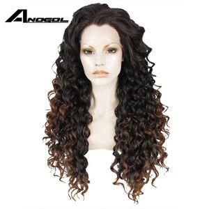 Image 1 - Anogolทนความร้อนลูกไม้ด้านหน้าด้านหน้าวิกผมสีน้ำตาลOmbre Dark Rootsวิกผมยาวสังเคราะห์Kinky CurlyธรรมชาติผมWigsสำหรับผู้หญิง
