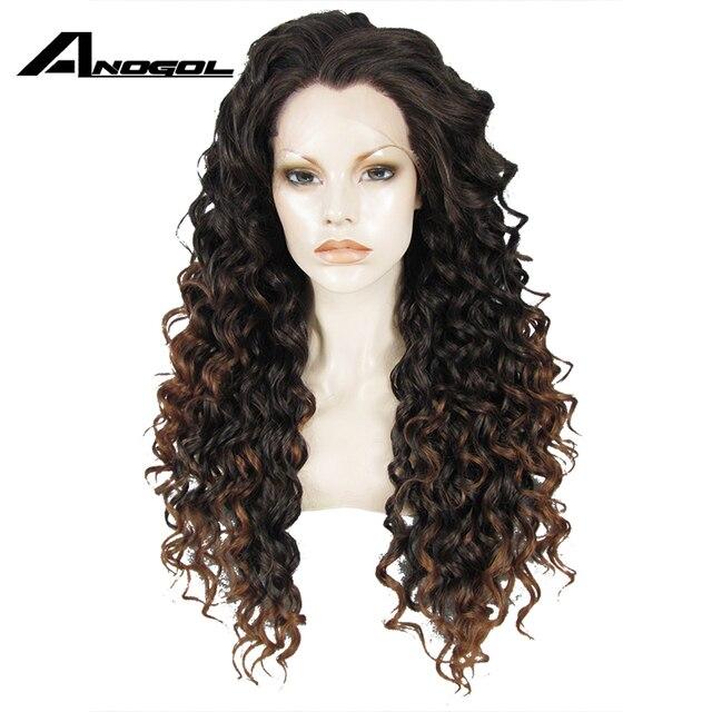 Anogolทนความร้อนลูกไม้ด้านหน้าด้านหน้าวิกผมสีน้ำตาลOmbre Dark Rootsวิกผมยาวสังเคราะห์Kinky CurlyธรรมชาติผมWigsสำหรับผู้หญิง