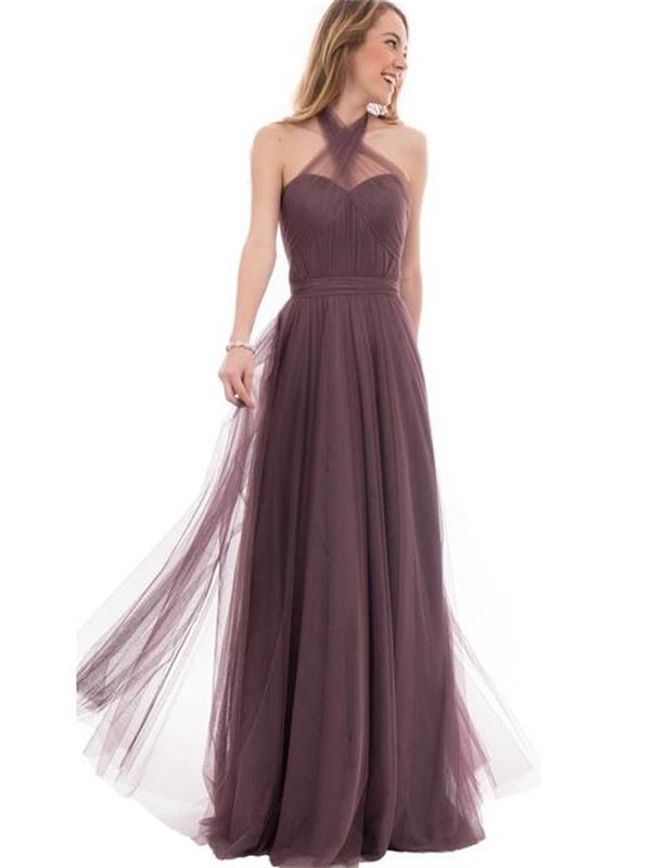 Convertible popular tulle A-line special long simple wedding party dress 2016 on sale bridesmaid dress for women PD160070