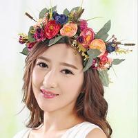 La mariée demoiselle d'honneur guirlande cheveux conduit le cerceau Bohème camélia guirlandes de fleurs classique cheveux accessoires en gros