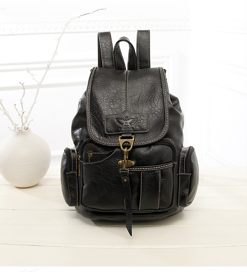 HTB1XUmCbjzuK1Rjy0Fpq6yEpFXa9 Vintage Women Backpack for Teenage Girls School Bags Large Drawstring Backpacks High Quality PU Leather Black Brown Bag XA658H