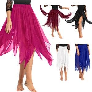 Image 2 - Женская Асимметричная юбка для танца живота iiniim, шифоновая юбка с Боковым Разрезом, гимнастический купальник для взрослых, танцевальная юбка