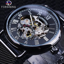 Forsining 2018 Black Silver Skeleton Clock Mesh Band Design Waterproof Men's Mechanical Watches Top Brand Luxury Montre Homme цены онлайн