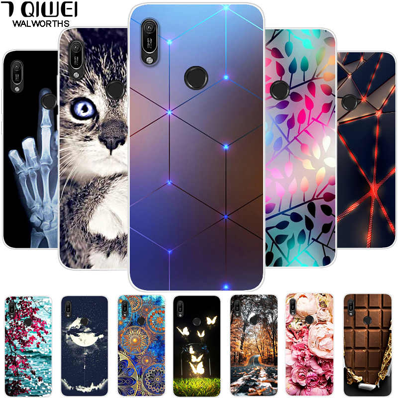 6.09 ''untuk Huawei Y6 2019 Case Silicon Soft TPU Phone Case untuk Coque Huawei Y6 2019 Case Cover Y 6 2019 6Y Fashion Slim Fundas