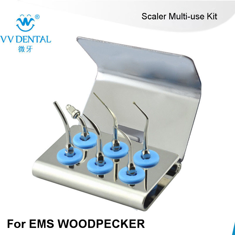 1 set EMUKS Dental Scaler for EMS WOODPACKER Scaler Multi-use Kit Silver medical stainless steel Multi-use Kit Gold tooth tool by dhl or ems 100 sets professional tooth clean tools set stainless steel dental mirror probe plier tweezers teeth
