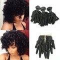4Pcs Lot Peruvian Funmi Hair With Closure Peruvian Virgin Hair With Lace Closure Aunty Funmi Curl Weave Short Bob Curly Hair