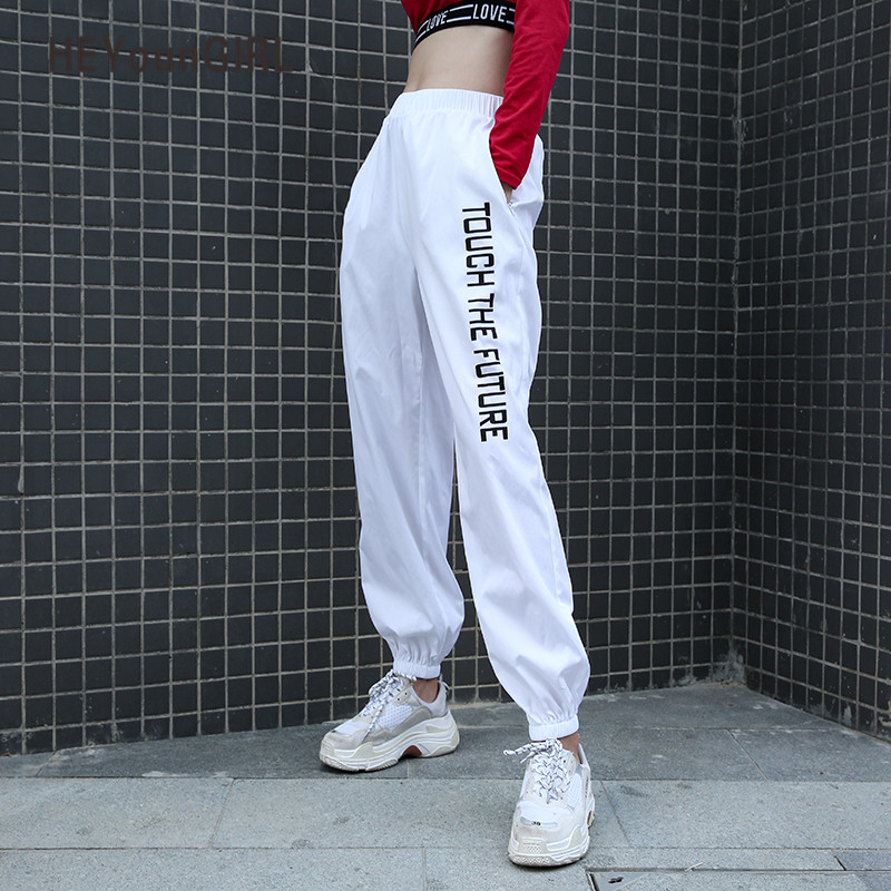 HEYounGIRL Print Letter Casual Sweatpants Baggy High Waist Women Pants Capris Joggers Streetwear Fashion Female White Trousers