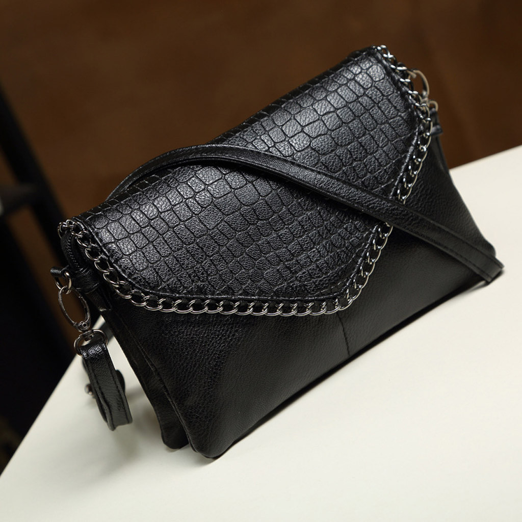 Black Women Lady Wild Crocodile Pattern Shoulder Bag Fashion Simple Solid Messenger Clutch Bag New Leather Bags Sac Main Femme