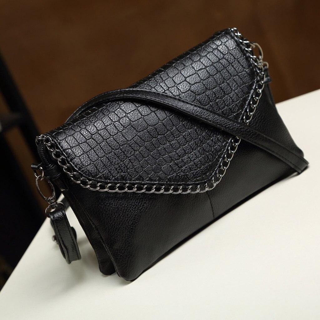 Noir femmes dame sauvage Crocodile modèle Sac à bandoulière mode Simple solide Messenger pochette nouveau cuir sacs Sac à Main Femme