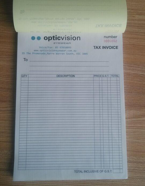 Custom Print A Xmm Duplicate Carbonless Receipt Invoice Book - Custom carbon paper invoices