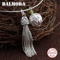 Balmora 925 فضة الشرابة قلادة القلائد للمرأة الأم هدية الكرة إكسسوارات الفضة والمجوهرات 45 سنتيمتر طوق SY12608