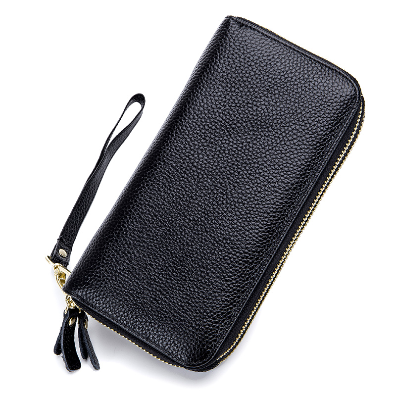 Guaranteed 100% Genuine Leather Double Zipper Womens Purse 2018 New Arrivals RFID Protection Bank Large Capacity Women Wallets
