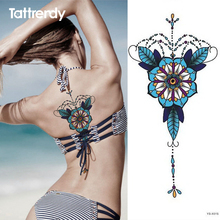 1pc Chest Tattoo Stickers Large Flower Shoulder Arm Sternum Tattoos Sleeve Body Back Paint Flash Blue Leaves Flowers Sexy Girl