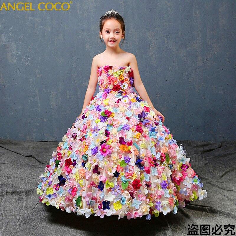 Luxury Girl Red Carpet Evening Gown Graduation Dresses Abendkleider Robe De Soiree Children Piano Performance Concert Dress 2018