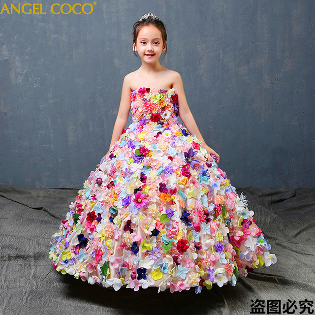 Luxury Red Carpet Evening Gown Graduation Dresses Abendkleider Robe De Soiree Children Piano Performance Concert