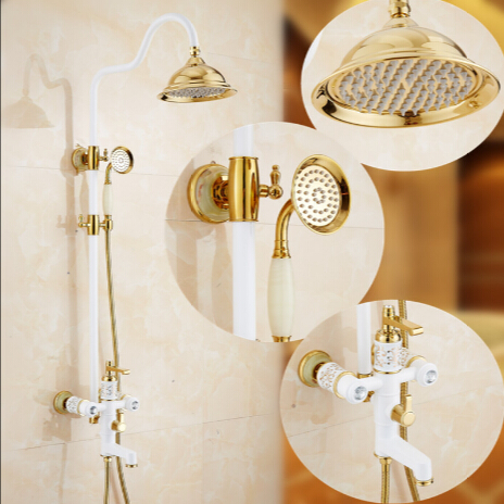 New Bathroom Shower Set Gold U0026 White Wall Mounted Shower Faucet Set 8