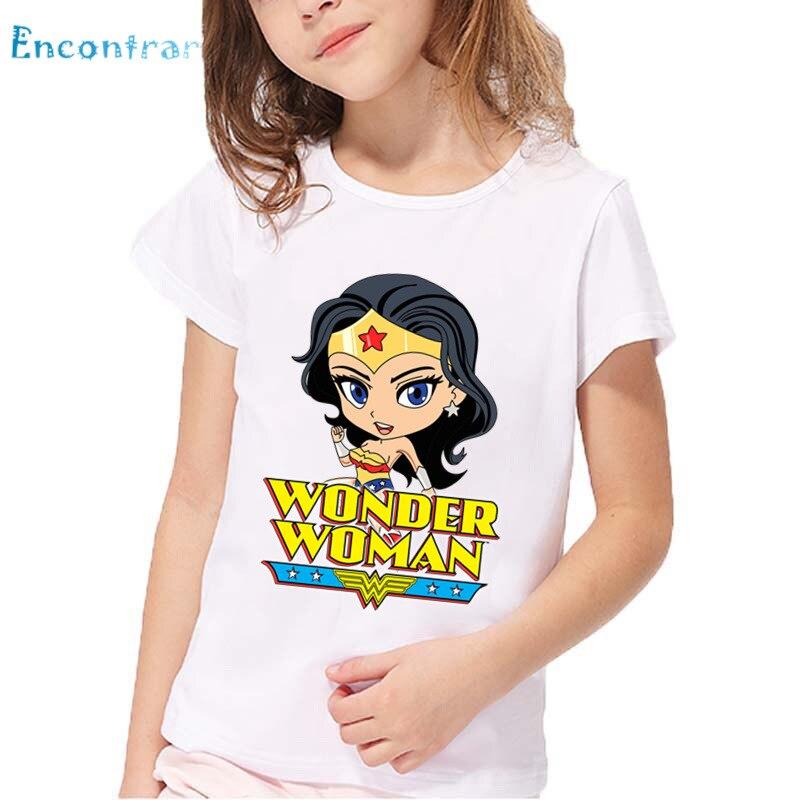 100% Vero Wonder Woman Modello Del Fumetto Divertente Maglietta Del Bambino Di Estate Delle Ragazze Confortevole Magliette E Camicette Bambini Casual T-shirt Bianca, Hkp5211 Top Angurie