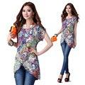 2015 nuevo verano para mujer del o-cuello de manga corta con estampado floral camisa de la gasa elegante asimétrico blusa casual tops camisa XXXL a223
