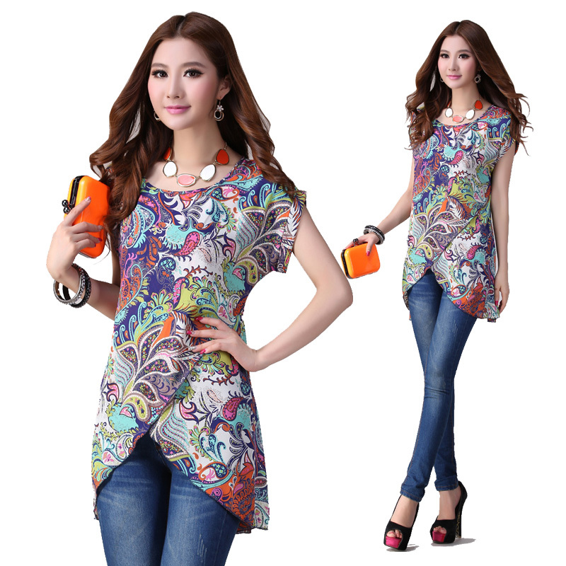 2015new summer ladies O-neck short-sleeve floral printed chiffon shirt elegant asymmetrical casual blouse tops shirt  XXXL a223