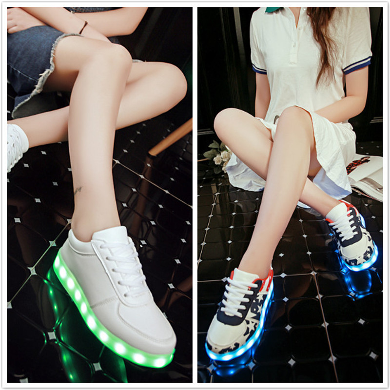 2017 Usb charging shoes Led luminous Shoes Men Women Sport sneakers sole Glowing Outdoor Lights Running Shoes