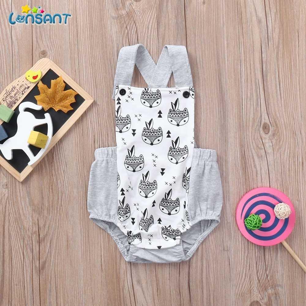 LONSANT çocuk giyim yaz yenidoğan bebek karikatür tilki baskı Backless Romper tulum giysileri kızlar için infantil N0