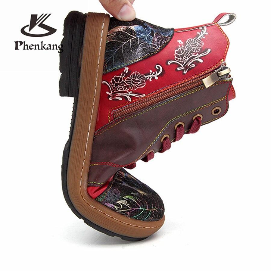 Femmes Cheville Cuir Confortable Main D'hiver À Qualité Chaussures Marque De Designer Vache Bottes Rouge 2019 Red En Hauts Souples Véritable Talons Printemps rBoWCxQde