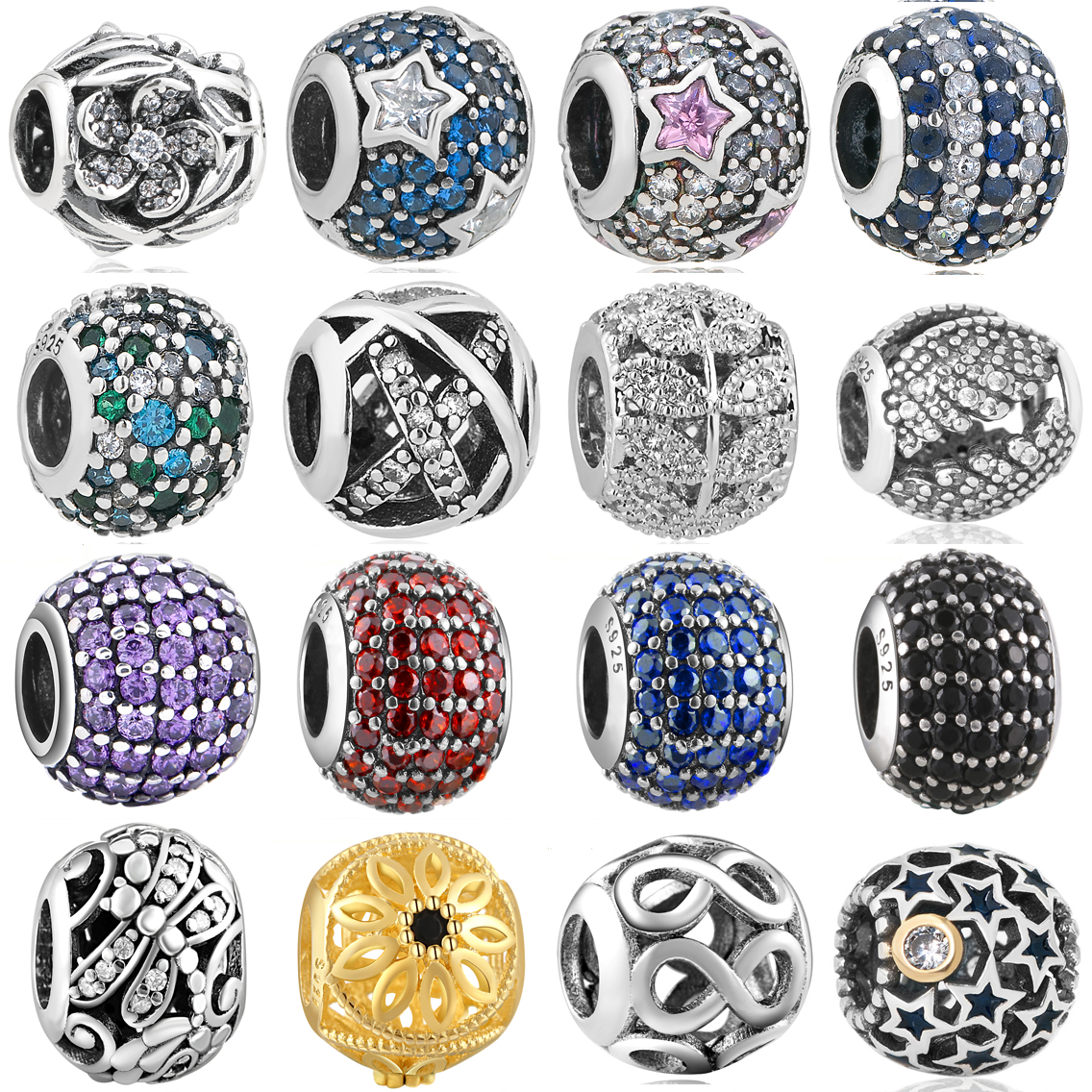 Caliente 925 de plata Zirconia cúbica Europea Charm Beads Fit Pandora Estilo Pulsera Collar Colgante DIY Joyas Originales