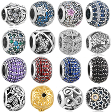 hot 925  silver European cubic zirconia Charm Beads Fit Pandora Style Bracelet Pendant Necklace DIY Jewelry Originals