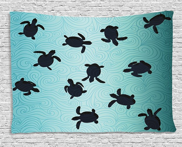 marine tapestry baby sea turtles swimming silhouette from the bottom
