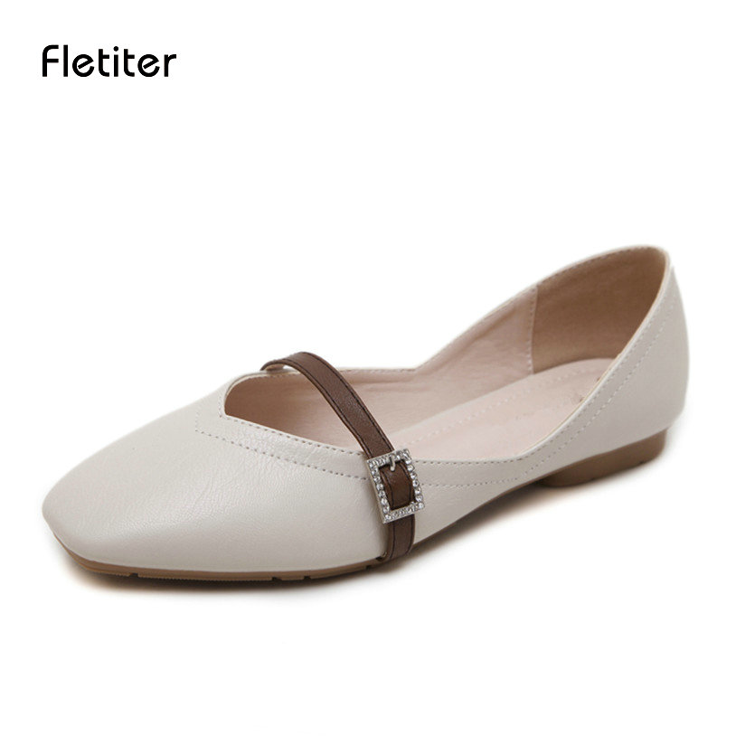 Fletiter 2018 Brand Women Flats Crystal Summer Size 35 40 Genuine Leather  Women Shoes Woman Soft Comfortable Casual Shoes-in Women s Flats from Shoes  on ... ba62655f43b0
