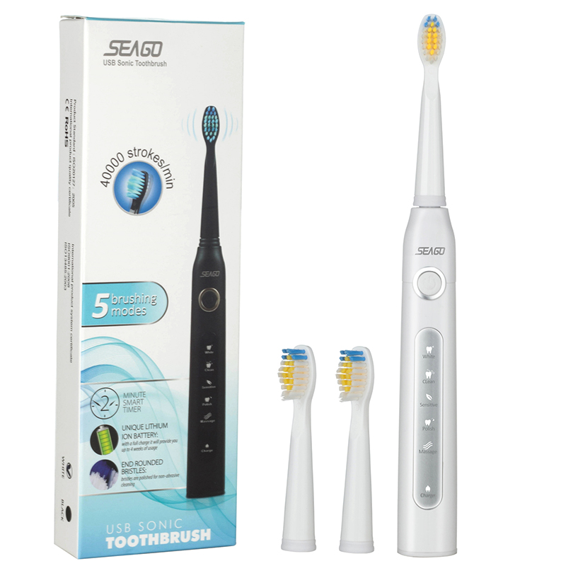 New Sonic Electric Toothbrush USB Charge Rechargeable Tooth Brushes with 3pcs Replacement Heads for Adult Timer Brush SG-507 4pcs electric sonic replacement tooth brush heads for philips sonicare toothbrush heads dual soft bristles sensiflex hx2014