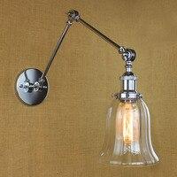 Chrome Estilo Loft Lâmpada de Parede Do Vintage Do Vintage Luminárias Sala de Café Braço Longo Retro Lampen Luz Arandela Arandela Apliques Pared|apliques pared|retro wall lightswall light -