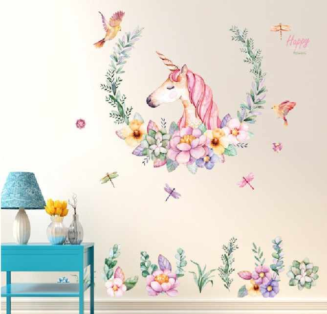 60*90cm New style loveliness Unicorn Stickers Bedroom Living Room Sofa Background Decorative Wallpaper PVC Removable Wall
