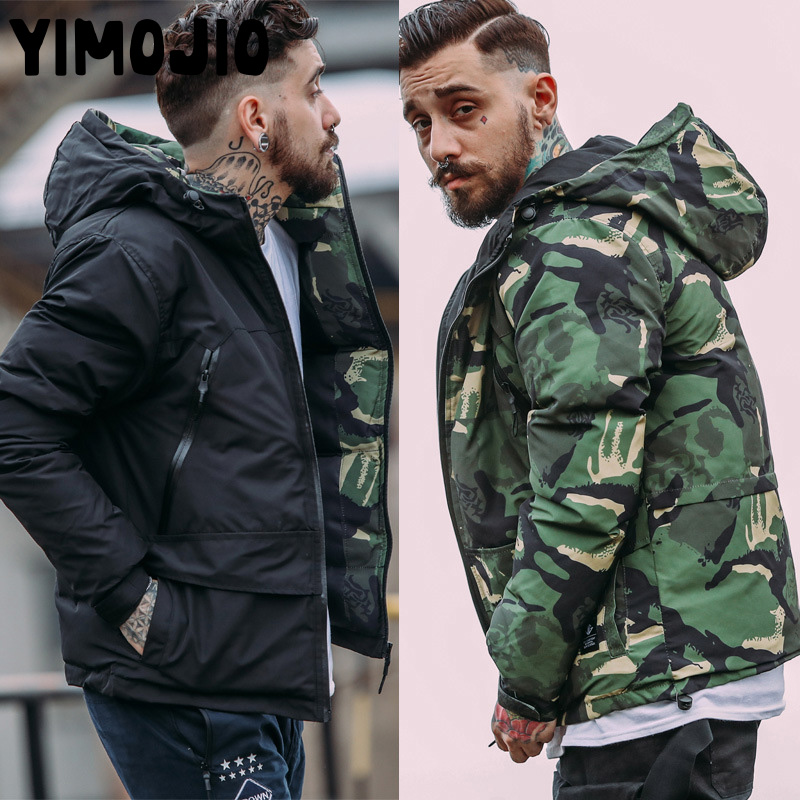 Winter Jacket Men Military   Parkas   Coat Male Jacket Men Thick Outwear Nylon Camouflage Hooded Down Jacket Plus Size Print Zipper