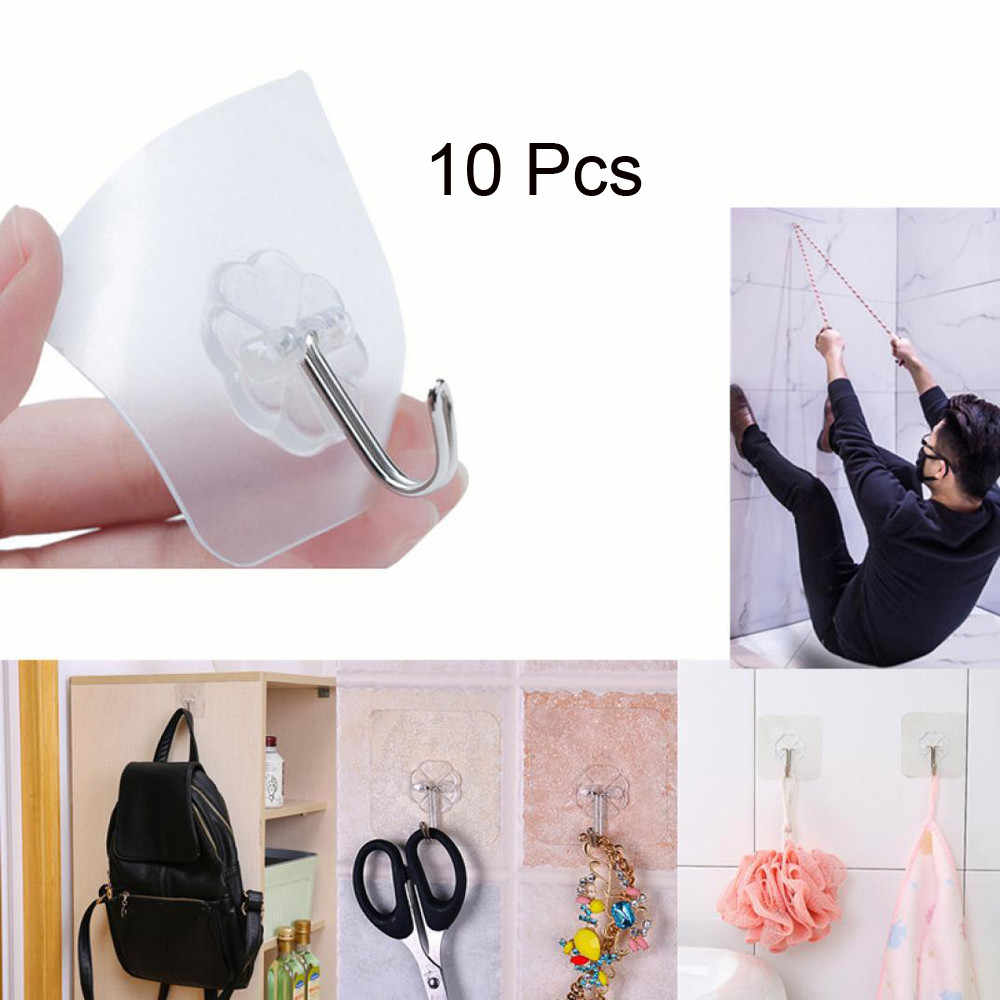 10PCS Strong Transparent Suction Cup Sucker Wall Hooks Hanger For Kitchen Bathroom Great decoration Plastic Sucker hook Hot Sale