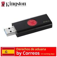 Kingston Technology DataTraveler 106 Unidades Flash USB Memoria interna de 64 GB, USB 3.0 (3.1 Gen 1) tipo A Color negro y rojo