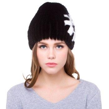 Luxury Handmade Autumn Winter Women's Genuine Real  Mink Fur Beanies Hats  Lady Warm Caps VF5052