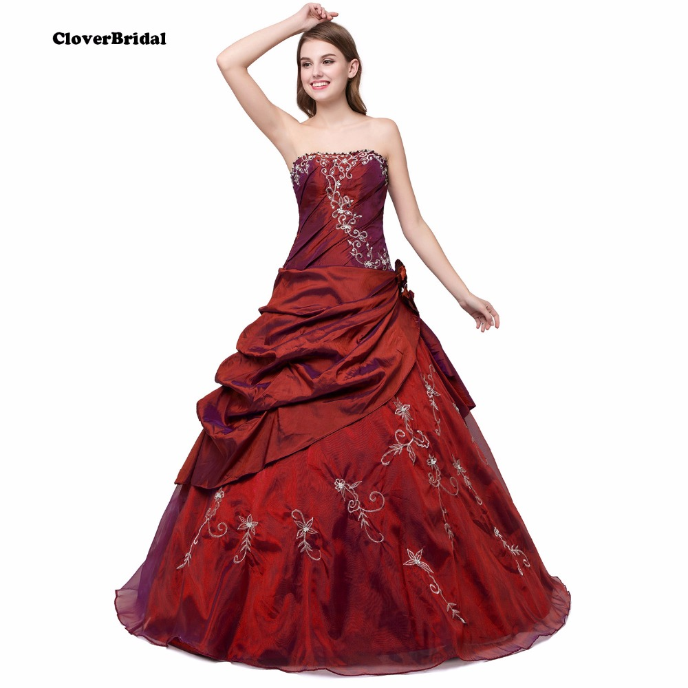 In Stock New Beaded Appliques Pleated Taffeta And Tulle Burgundy Quinceanera Dresses Sweet 16 Dresses Size 2-4- 6-8-10-12-14-16